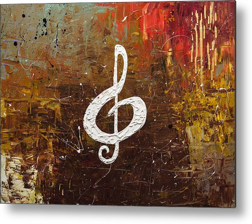Music Abstract Art Metal Print featuring the painting White Clef by Carmen Guedez