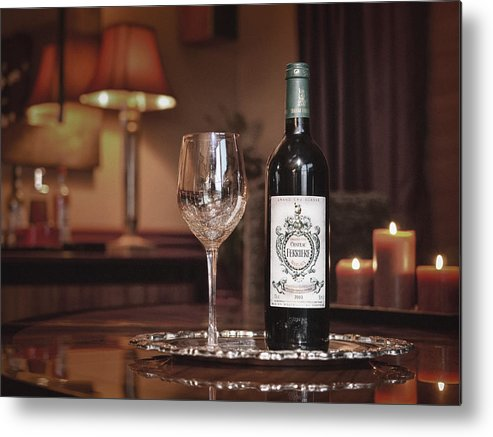 Red Metal Print featuring the photograph Wine For One by Dennis James
