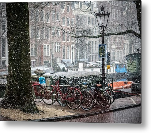 Snow Metal Print featuring the photograph Winter Time In Amsterdam by Tino Lopes