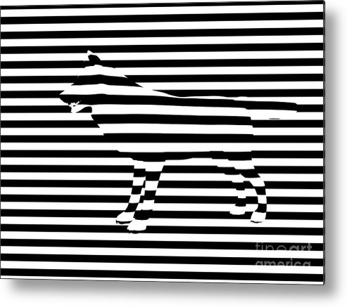 Abstract Metal Print featuring the painting Wolf Optical Illusion by Pixel Chimp
