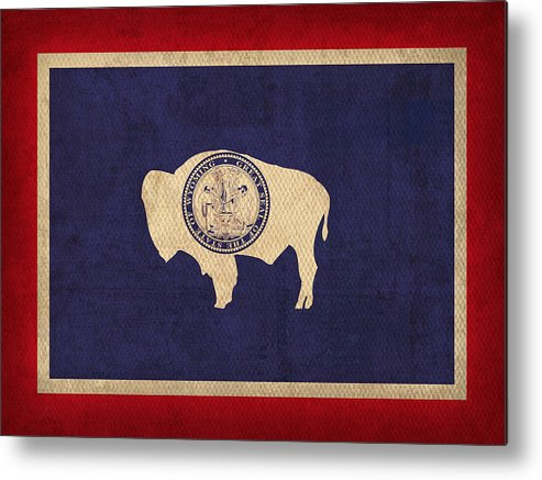 Wyoming State Flag Art On Worn Canvas Metal Print featuring the mixed media Wyoming State Flag Art On Worn Canvas by Design Turnpike