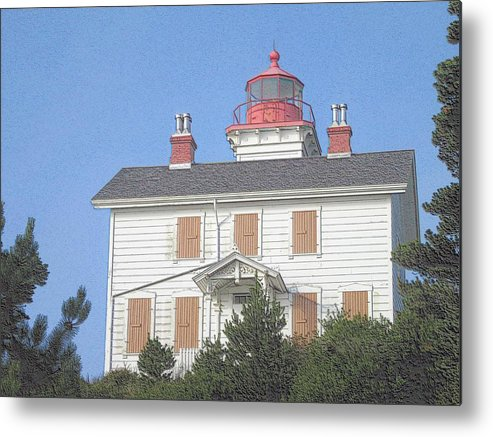 Lighthouse In Fog Metal Print featuring the photograph Yaquina Bay Lighthouse by G Berry