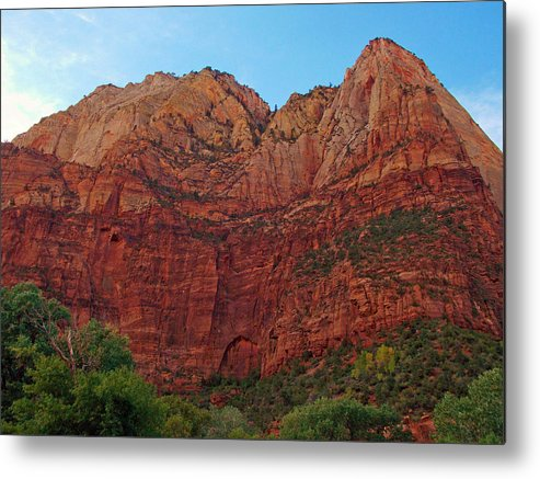 Landscape Metal Print featuring the photograph Zions Work by Jens Larsen