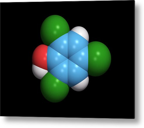 2 Metal Print featuring the photograph Molecule Of A Component Of Tcp Antiseptic by Dr Tim Evans