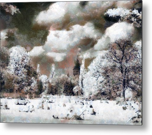 Nature Metal Print featuring the painting Picnic In Park by Odon Czintos