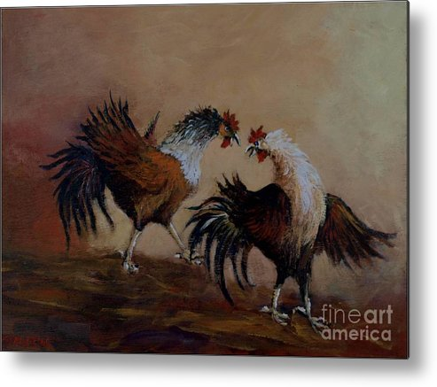 Roosters Metal Print featuring the painting Rooster Fight by Jean Pierre Bergoeing