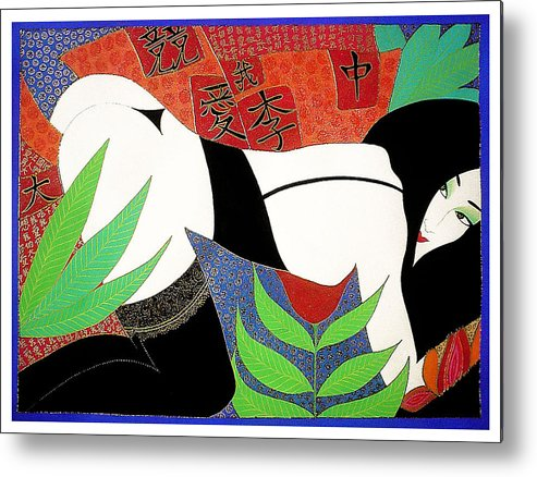 Erotic Metal Print featuring the painting The Last Erotic Geisha by Dulcie Dee