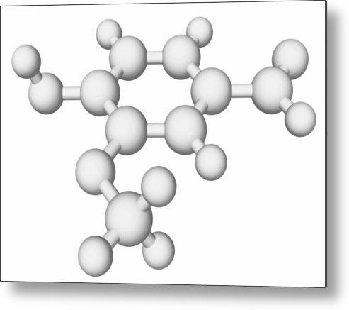 Horizontal Metal Print featuring the digital art Vanillin Molecule by Laguna Design
