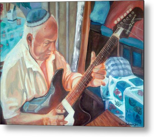 Israel Metal Print featuring the painting While My Guitar Gently Weeps by Paula Michelle