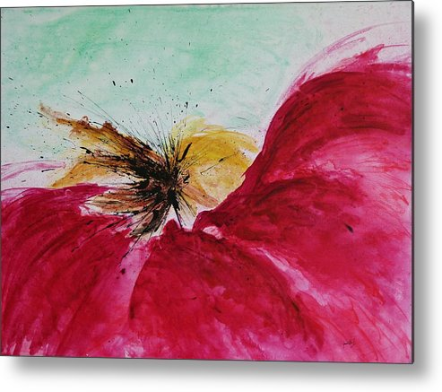 Abstract Art Metal Print featuring the painting Abstract Flower by Ismeta Gruenwald