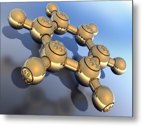 Square Metal Print featuring the digital art Benzene, Molecular Model by Laguna Design