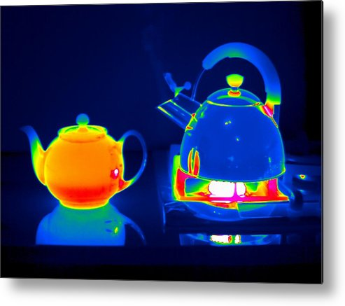 Kettle Metal Print featuring the photograph Kettle And Teapot, Thermogram by Tony Mcconnell