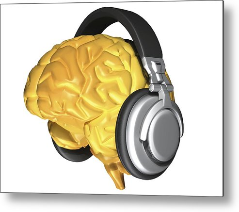 Brain Metal Print featuring the photograph Brain With Headphones, Artwork by Pasieka
