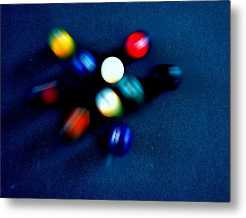 Pool Metal Print featuring the photograph 9 Ball Break by Nick Kloepping