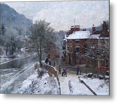 Digital Art Metal Print featuring the photograph A Wintry Street Scene In Ironbridge Gorge England In Digital Oil by Sarah Broadmeadow-Thomas