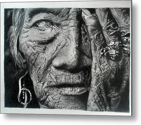 'sketch Metal Print featuring the drawing Aching Loneliness Of Life by Sohaj Singh Brar