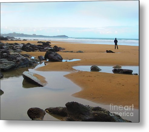 Alone Metal Print featuring the photograph Alone On The Beach by C Lythgo