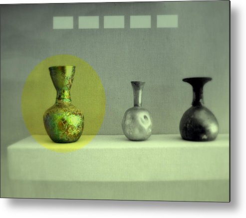 Still Life Metal Print featuring the photograph Antique Vases Still Life Altered II by Kathleen Grace