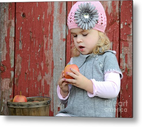 Girl Metal Print featuring the photograph Apple Admirer by Maria Dryfhout