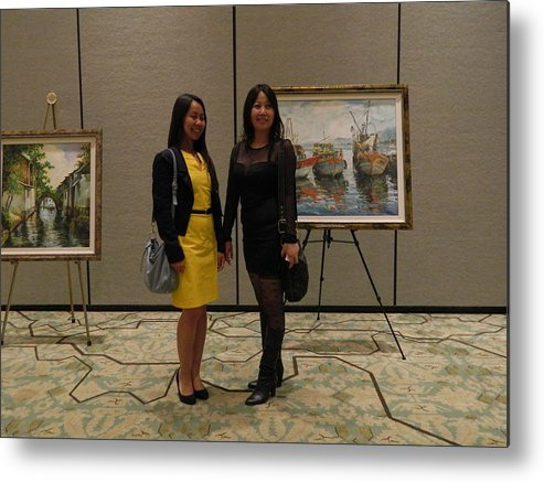 Min W Metal Print featuring the photograph Art Exhibit Paintings by Min Wang