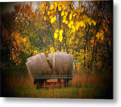 Autumn Metal Print featuring the photograph Autumn Hay Wagon by Joyce Kimble Smith