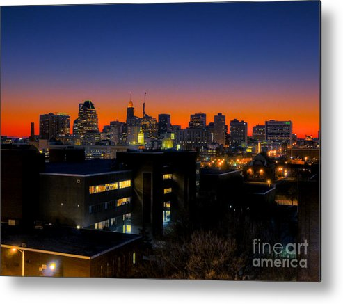 Hdr Photograph Metal Print featuring the photograph Baltimore At Sunset by Mark Dodd