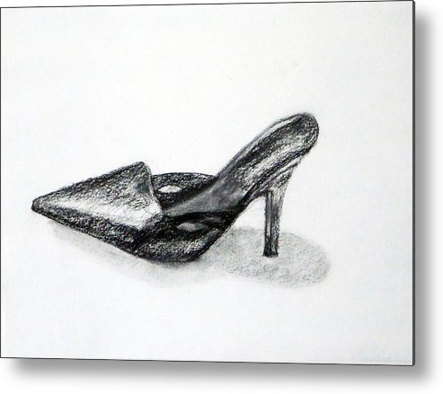 Shoe Metal Print featuring the drawing Black Shoe by Linda Pope