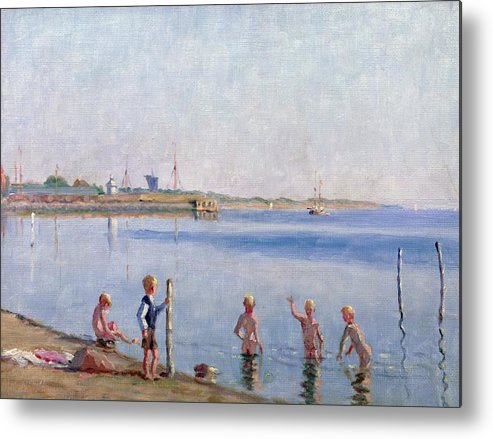 Skinny Dipping Metal Print featuring the painting Boys At Water's Edge by Johan Rohde