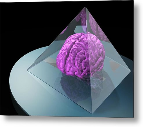 Horizontal Metal Print featuring the digital art Brain Trapped In A Pyramid, Artwork by Laguna Design