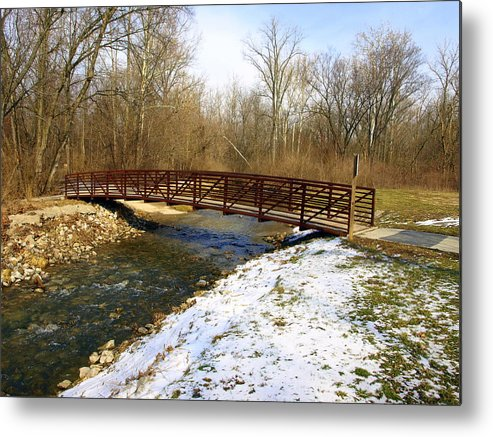 Bridge Metal Print featuring the photograph Bridge Over The Creek In Winter by Mike Stanfield
