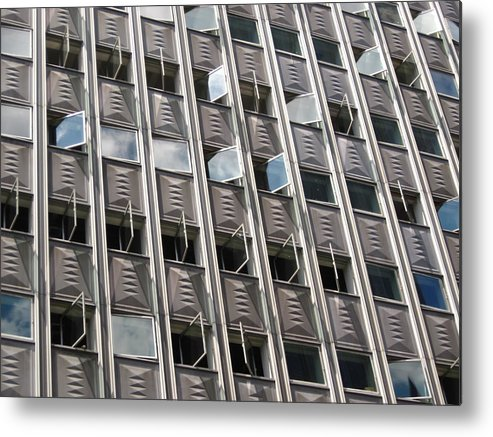Architecture Metal Print featuring the photograph Building With Many Squares by Alfred Ng