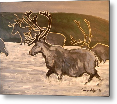 Caribou Metal Print featuring the painting Caribou by John Connaughton