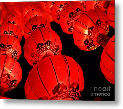 Asia Metal Print featuring the photograph Chinese Lanterns 3 by Xueling Zou