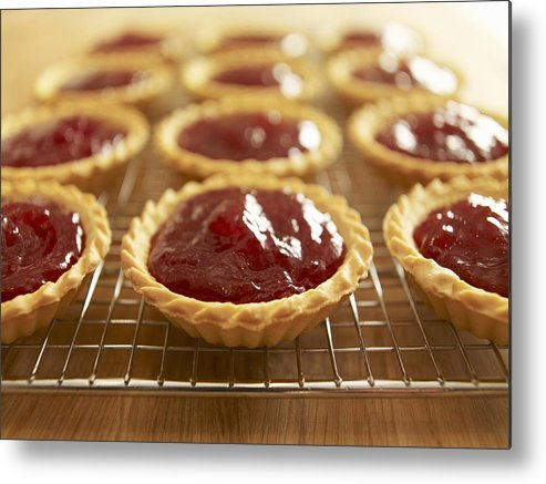 Horizontal Metal Print featuring the photograph Close Up Of Jam Tarts Cooling On Wire Rack by Adam Gault