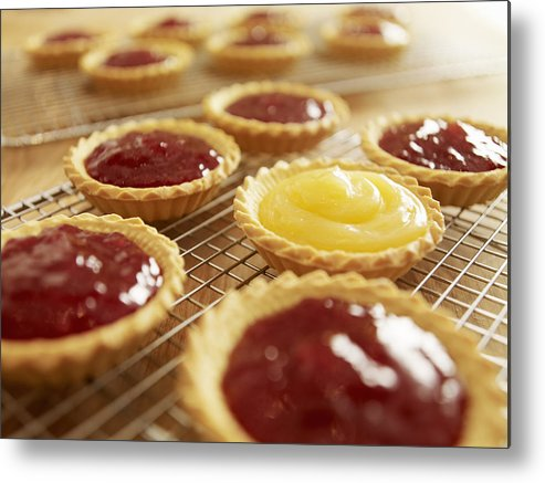 Horizontal Metal Print featuring the photograph Close Up Of Jam Tarts Cooling On Wire Racks by Adam Gault