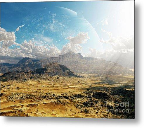 Artwork Metal Print featuring the digital art Clouds Break Over A Desert On Matsya by Brian Christensen