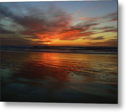 Orange Metal Print featuring the photograph Color Burst Reflection by Pamela Patch