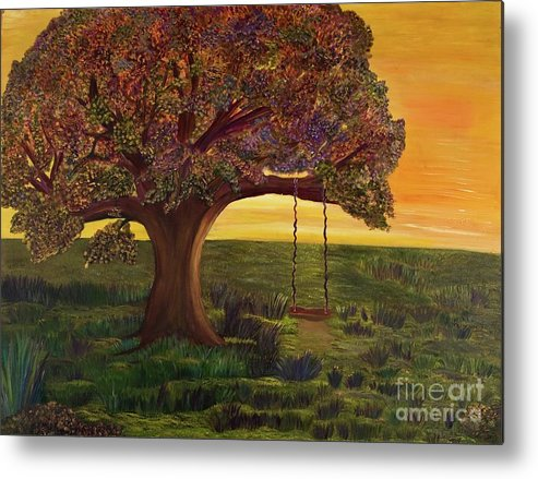 Oak Tree Metal Print featuring the painting Come Play With Me by Monica Hebert