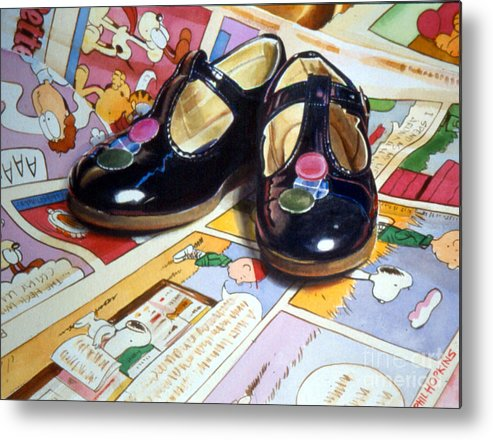 Shiny Metal Print featuring the painting Comic Shoes by Phil Hopkins