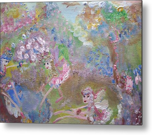 Pool Metal Print featuring the painting Fairies By The Pool by Judith Desrosiers