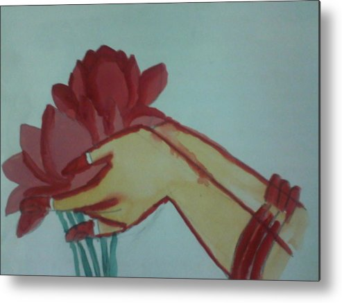 Lotus Metal Print featuring the painting Floral Offering by Amisha Tripathy