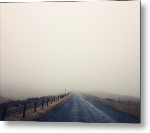 Horizontal Metal Print featuring the photograph Foggy Road To Mountains by Lesley Magno