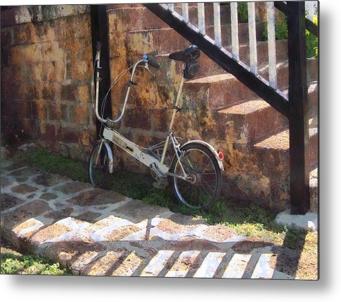 Bicycle Metal Print featuring the photograph Folding Bicycle Antigua by Susan Savad