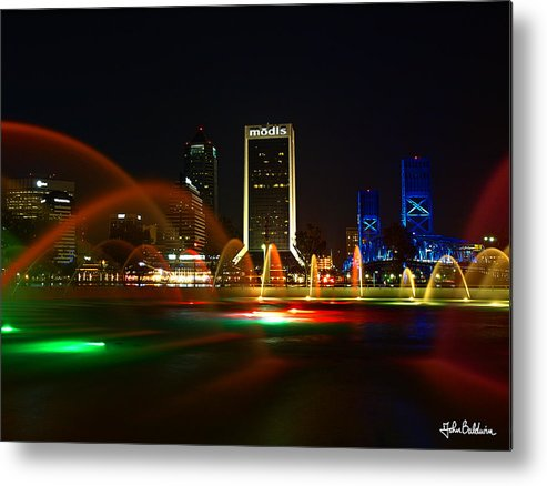Jacksonville Metal Print featuring the photograph Fountain At Night by John Baldwin