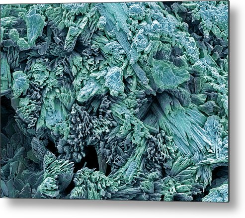 Calcium Sulphate Dihydrate Metal Print featuring the photograph Gypsum Crystals, Sem by Steve Gschmeissner