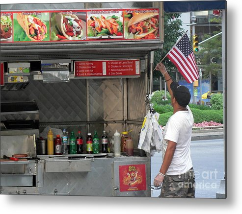 Gyros Stand Metal Print featuring the photograph Gyros And The American Flag by Elizabeth Fontaine-Barr