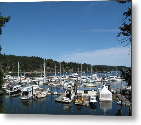 Horizontal Metal Print featuring the photograph Harbour And Boats by Marianna Sulic