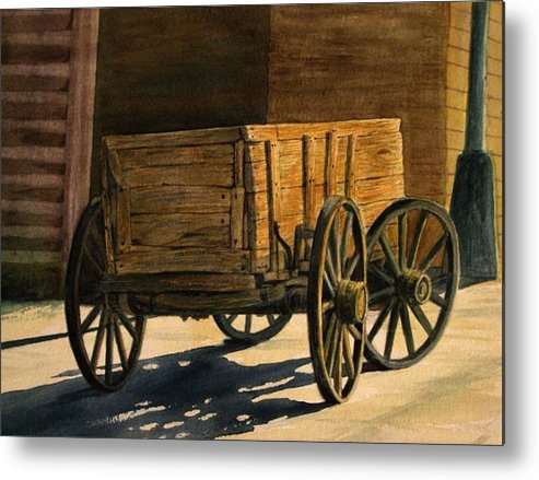 Still Life Western Wagon Watercolor Metal Print featuring the painting High Noon by Leslie Bookout
