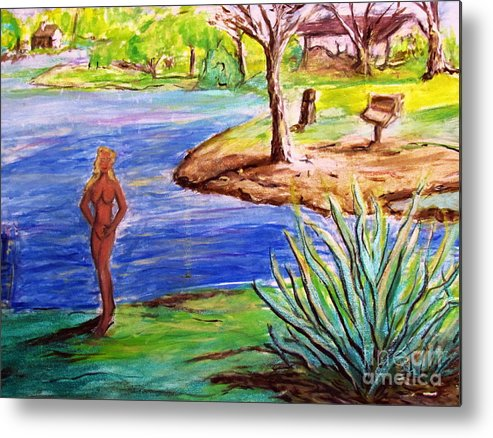 Lady By Lake Metal Print featuring the painting Lady By The Lake by Stanley Morganstein