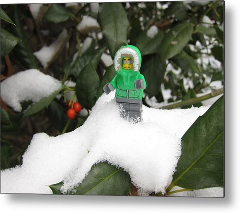 Lego Metal Print featuring the photograph Lego Mini Eskimo In Holly by Sven Migot
